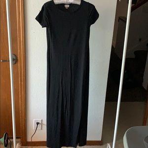 Short Sleeve Black Maxi Double Split Dress